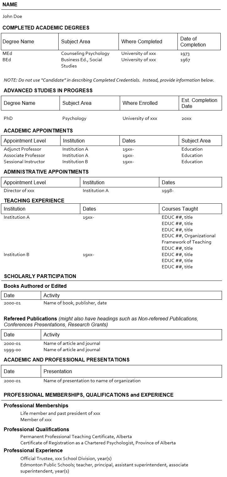 CV Template  Academic Cv Template